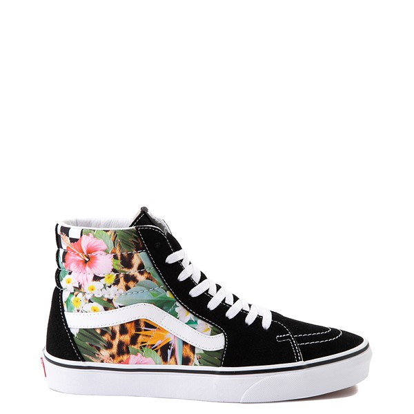 Main view of Vans Sk8 Hi Checkerboard Skate Shoe - Black / Tropical Leopard