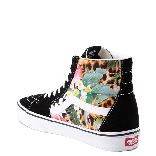 alternate view Vans Sk8 Hi Checkerboard Skate Shoe - Black / Tropical LeopardALT1
