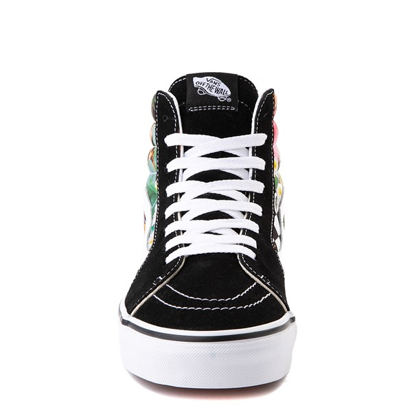 alternate view Vans Sk8 Hi Checkerboard Skate Shoe - Black / Tropical LeopardALT4