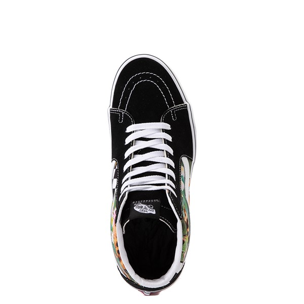 alternate view Vans Sk8 Hi Checkerboard Skate Shoe - Black / Tropical LeopardALT4B