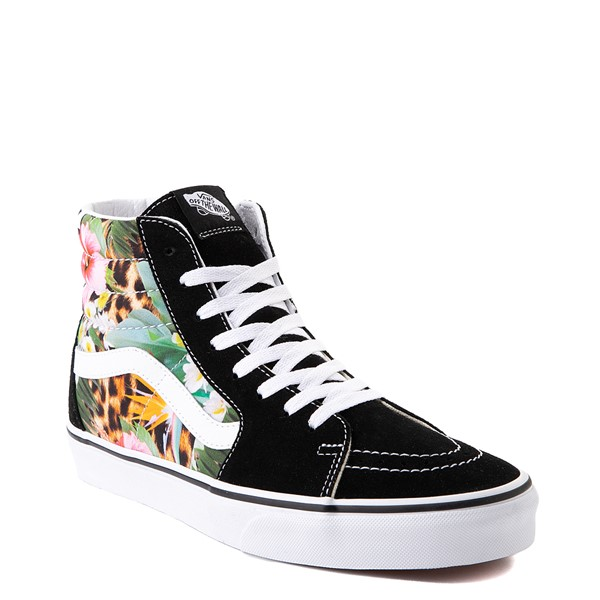alternate view Vans Sk8 Hi Checkerboard Skate Shoe - Black / Tropical LeopardALT5