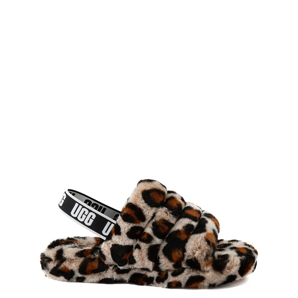 Main view of UGG® Fluff Yeah Slide Sandal - Little Kid / Big Kid - Leopard