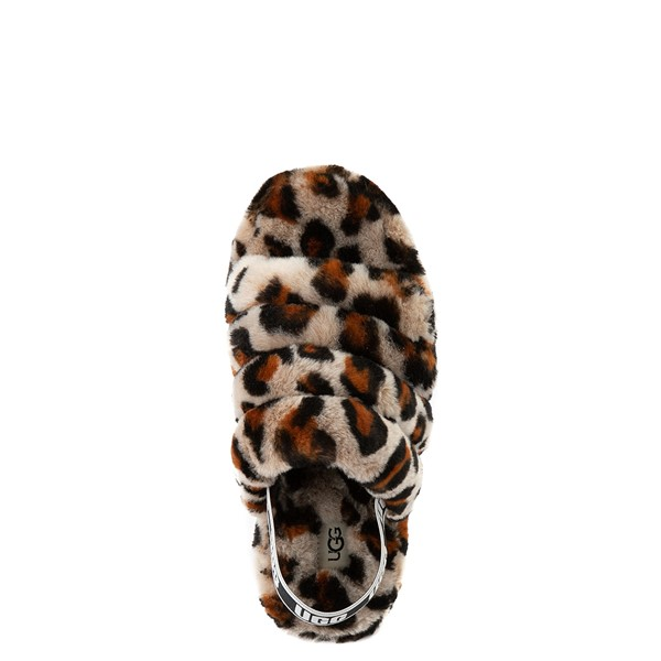 alternate view UGG® Fluff Yeah Slide Sandal - Little Kid / Big Kid - LeopardALT4B