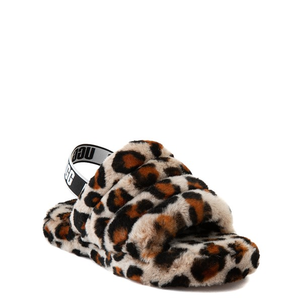 alternate view UGG® Fluff Yeah Slide Sandal - Little Kid / Big Kid - LeopardALT5