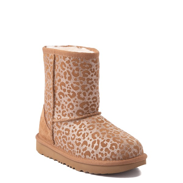 alternate view UGG® Classic Short II Glitter Leopard Boot - Little Kid / Big Kid - ChestnutALT1