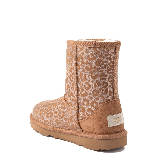 alternate view UGG® Classic Short II Glitter Leopard Boot - Little Kid / Big Kid - ChestnutALT2