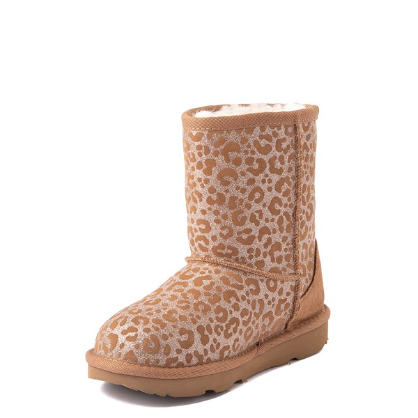 alternate view UGG® Classic Short II Glitter Leopard Boot - Little Kid / Big Kid - ChestnutALT3