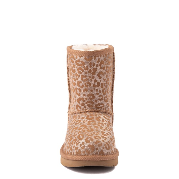 alternate view UGG® Classic Short II Glitter Leopard Boot - Little Kid / Big Kid - ChestnutALT4