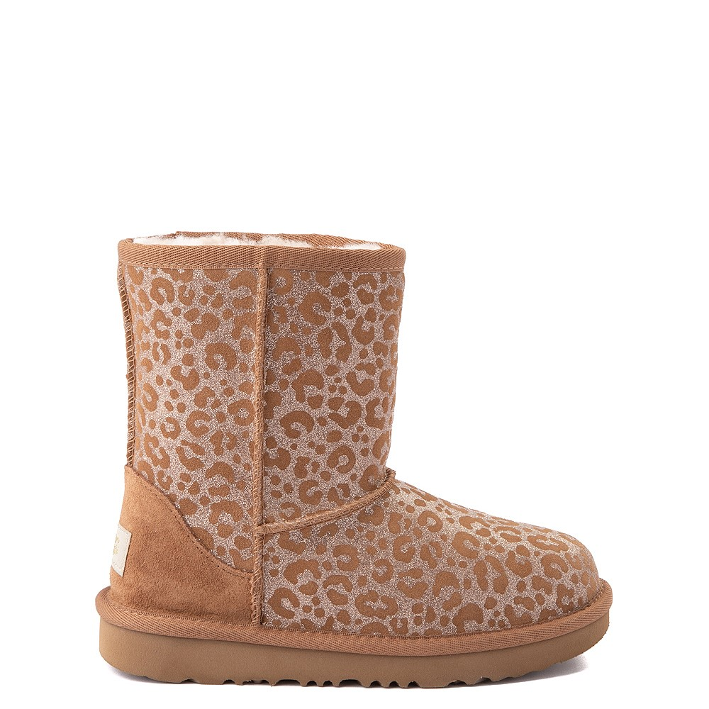 UGG® Classic Short II Glitter Leopard Boot - Little Kid / Big Kid - Chestnut