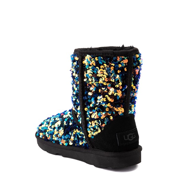 alternate view UGG® Classic II Stellar Sequin Boot - Little Kid / Big Kid - BlackALT1