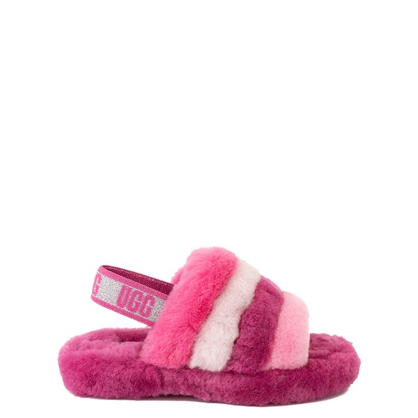 Main view of UGG® Fluff Yeah Slide Sandal - Little Kid / Big Kid - Pink / Multicolor
