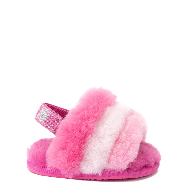 Main view of UGG® Fluff Yeah Slide Sandal - Baby / Toddler - Pink / Multicolor