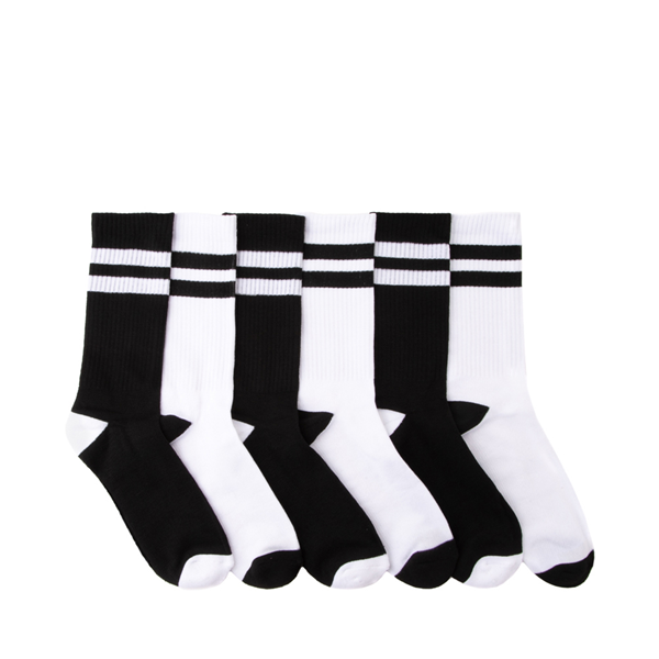 Mens Converse Crew Socks 6 Pack - Black / White