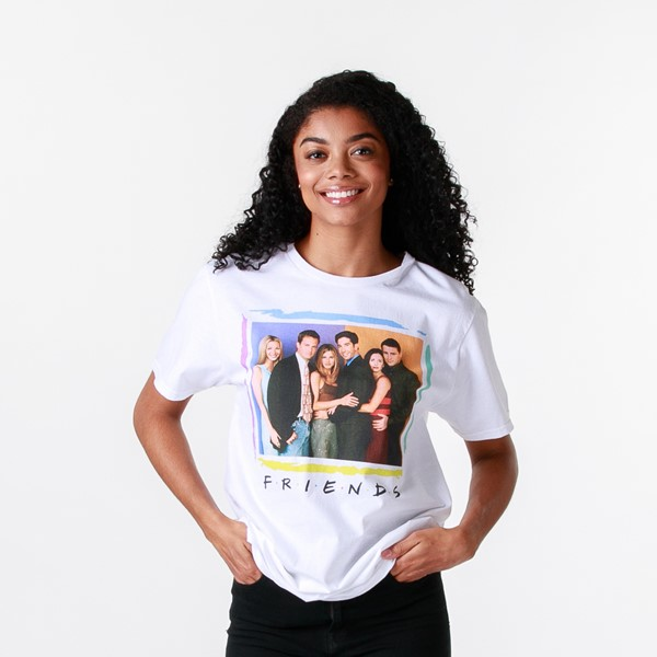Womens Friends Group Shot Boyfriend Tee - White