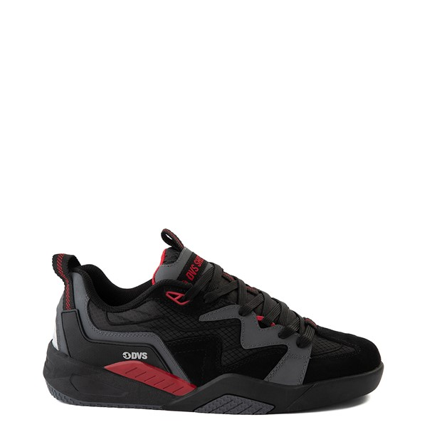 Main view of Mens DVS Devious Skate Shoe - Charcoal / Black / Red