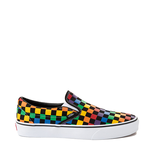Main view of Vans Slip On Rainbow Checkerboard Skate Shoe - Black / Multicolor