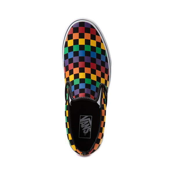 alternate view Vans Slip On Rainbow Checkerboard Skate Shoe - Black / MulticolorALT2