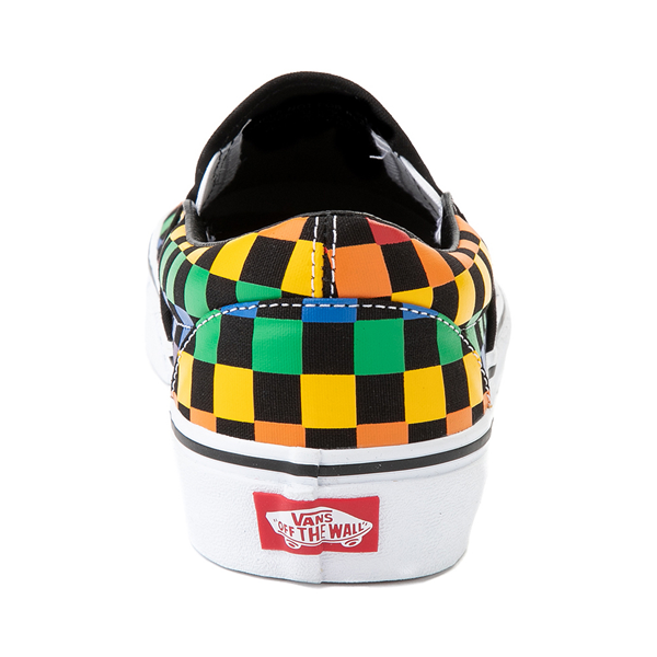 alternate view Vans Slip On Rainbow Checkerboard Skate Shoe - Black / MulticolorALT4