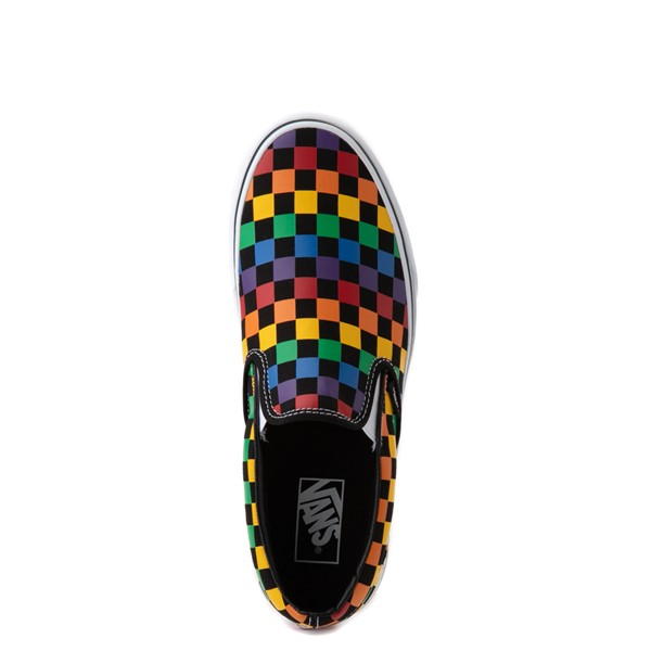 alternate view Vans Slip On Rainbow Checkerboard Skate Shoe - Black / MulticolorALT4B