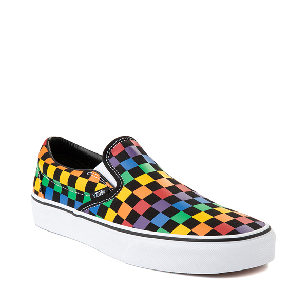 alternate view Vans Slip On Rainbow Checkerboard Skate Shoe - Black / MulticolorALT5