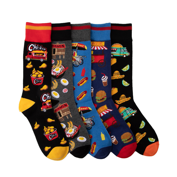 Main view of Mens Food Culture Crew Socks 5 Pack - Multicolor