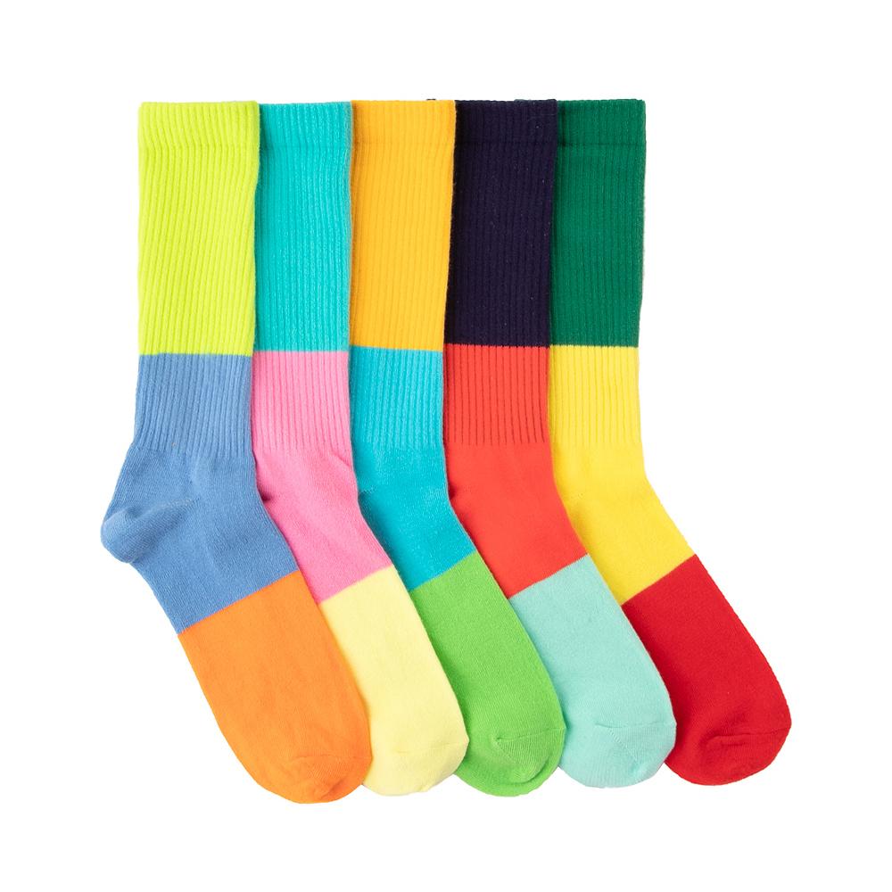 Mens Tri-Color-Block Crew Socks 5 Pack - Multicolor