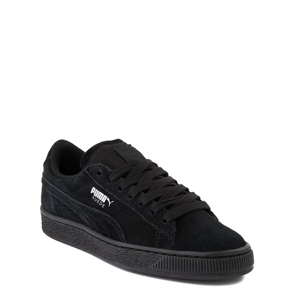 alternate view Puma Suede Athletic Shoe - Big Kid - Black MonochromeALT1