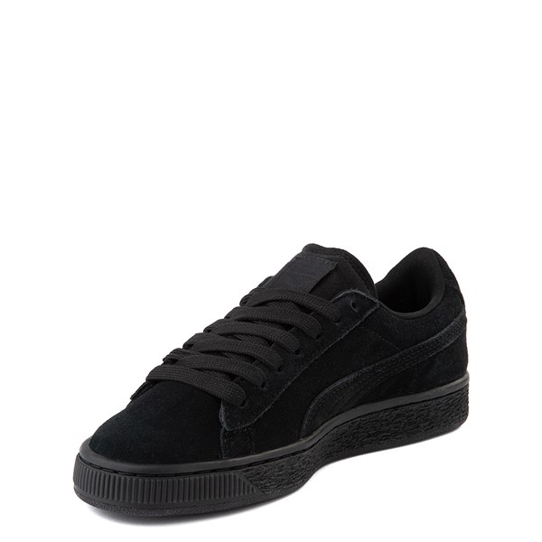 alternate view Puma Suede Athletic Shoe - Big Kid - Black MonochromeALT3