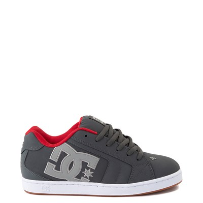 Main view of Mens DC Net Skate Shoe - Gray / Gray / Red