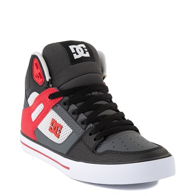 Alternate view of Mens DC Pure Hi WC Skate Shoe - Gray / Red