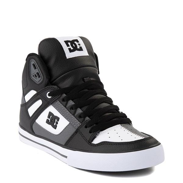 alternate view Mens DC Pure Hi WC Skate Shoe - White / Gray / BlackALT1