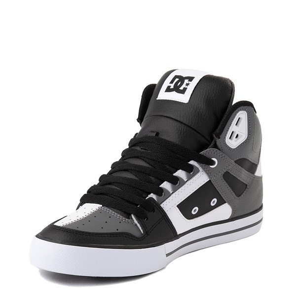 alternate view Mens DC Pure Hi WC Skate Shoe - White / Gray / BlackALT3