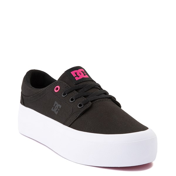alternate view Womens DC Trase TX Platform Skate Shoe - Black / FuchsiaALT1