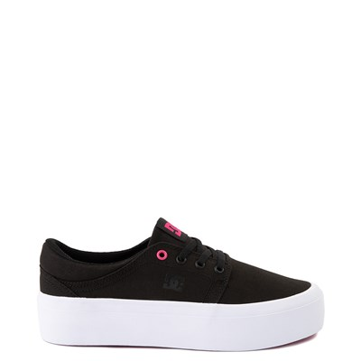Main view of Womens DC Trase TX Platform Skate Shoe - Black / Fuchsia