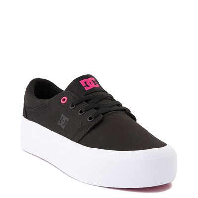 Alternate view of Womens DC Trase TX Platform Skate Shoe - Black / Fuchsia