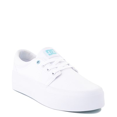 Alternate view of Womens DC Trase TX Platform Skate Shoe - White / Blue