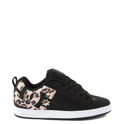 Main view of Womens DC Court Graffik SE Skate Shoe - Black / Leopard