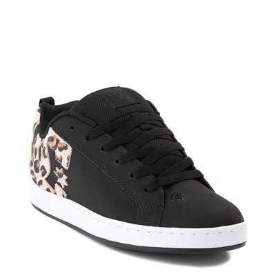 Alternate view of Womens DC Court Graffik SE Skate Shoe - Black / Leopard