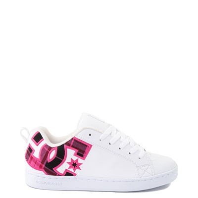 Main view of Womens DC Court Graffik SE Skate Shoe - White / Red / Plaid