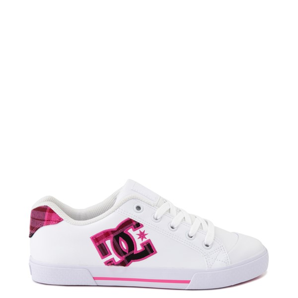 Main view of Womens DC Chelsea SE Skate Shoe - White / Pink Plaid