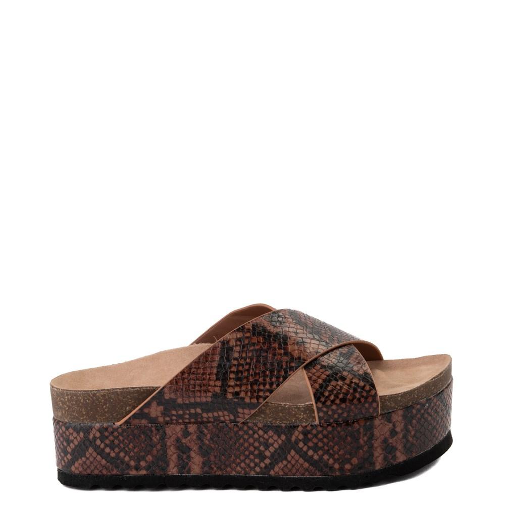 Womens Dirty Laundry Push It Platform Sandal - Coffee Snakeskin