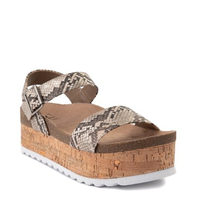 Alternate view of Womens Dirty Laundry Palms Platform Sandal - Tan / Snake