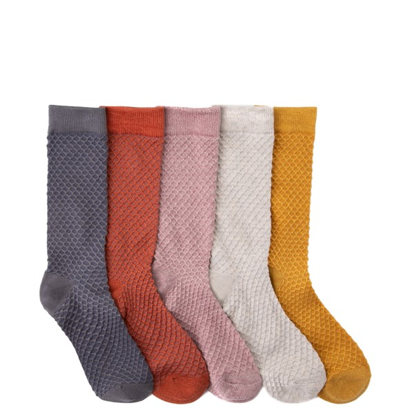 Womens Textured Knit Crew Socks 5 Pack - Multicolor