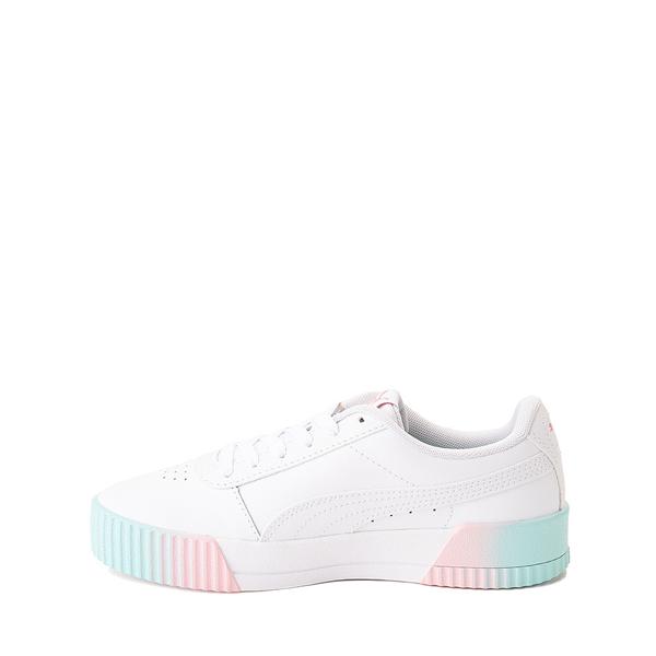 alternate view Puma Carina Athletic Shoe - Little Kid / Big Kid - White / Pink / TurquoiseALT1
