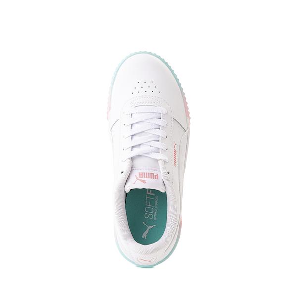 alternate view Puma Carina Athletic Shoe - Little Kid / Big Kid - White / Pink / TurquoiseALT2