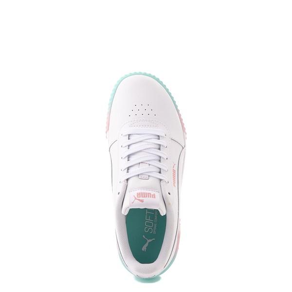 alternate view Puma Carina Athletic Shoe - Little Kid / Big Kid - White / Pink / TurquoiseALT4B