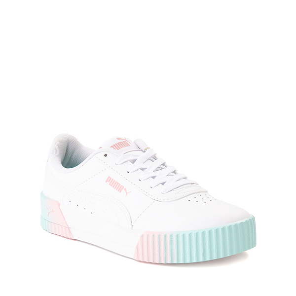 alternate view Puma Carina Athletic Shoe - Little Kid / Big Kid - White / Pink / TurquoiseALT5