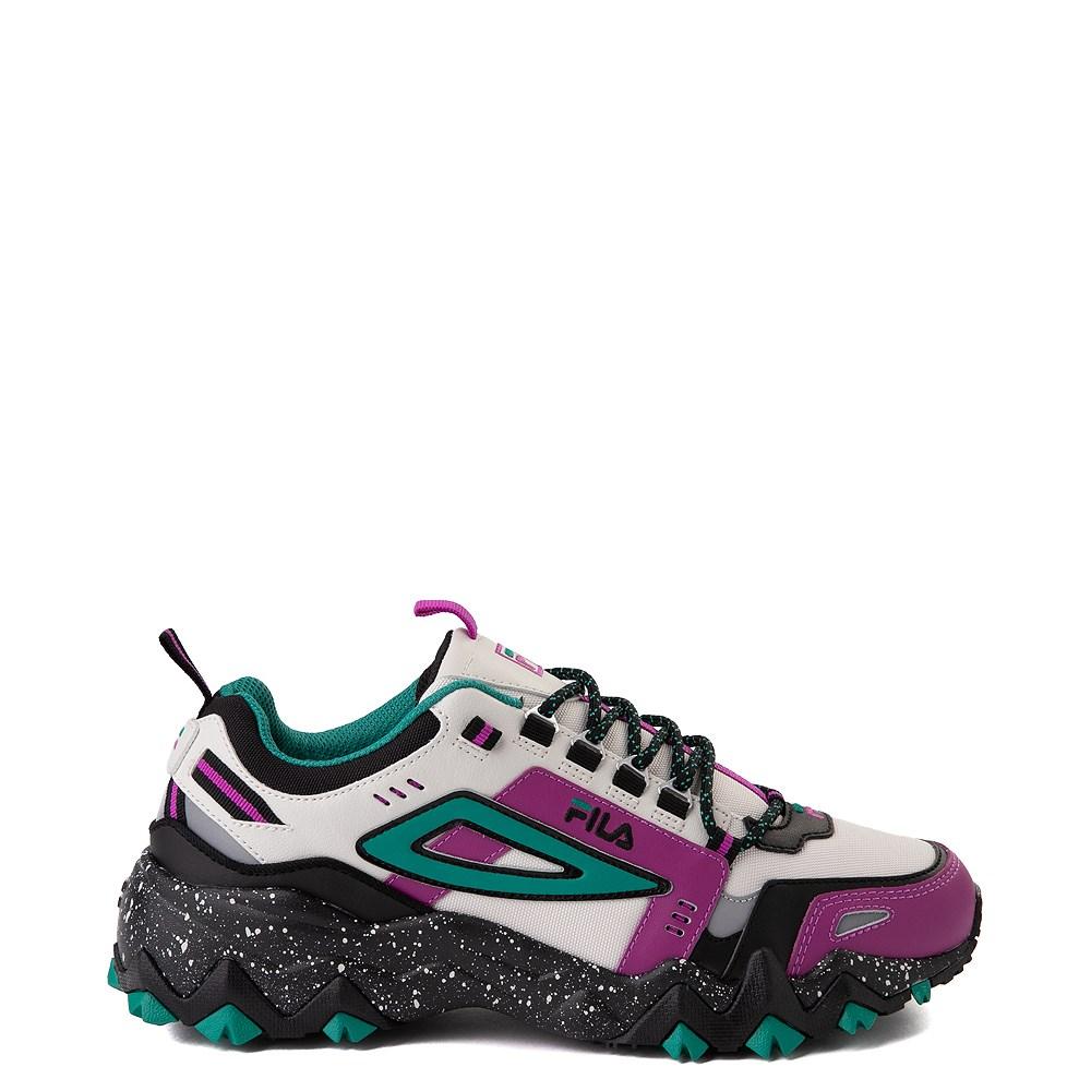 Mens Fila Oakmont TR Athletic Shoe Silver Birch Black Purple Cactus Flower