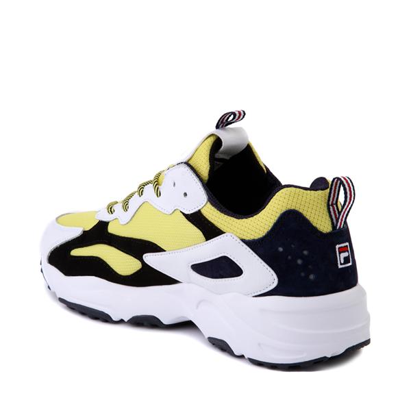 alternate view Mens Fila Ray Tracer Athletic Shoe - White / Black / LemonadeALT1