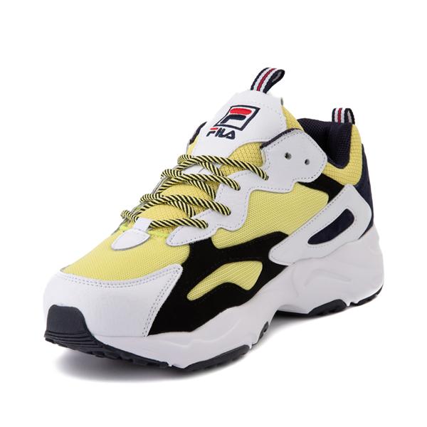 alternate view Mens Fila Ray Tracer Athletic Shoe - White / Black / LemonadeALT2